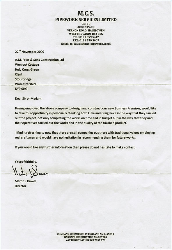 Testimonial - A.M.Price And Sons Ltd